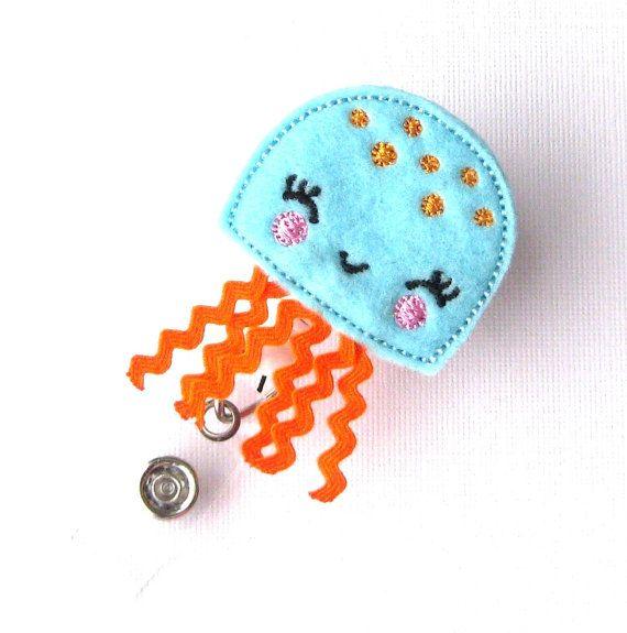 RN Gifts Nurse Badge Clips Pink JellyFish  Felt Badge Holder  Cute Badge Reels by BadgeBlooms, $7.00