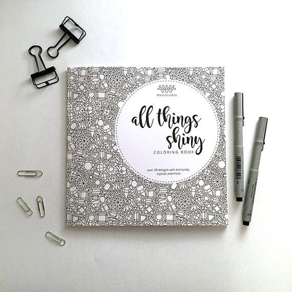 All Things Shiny coloring book for adults diamonds crystals and gemstones coloring page book intricate patterns animal coloring pages by AnnaGrundulsDesign