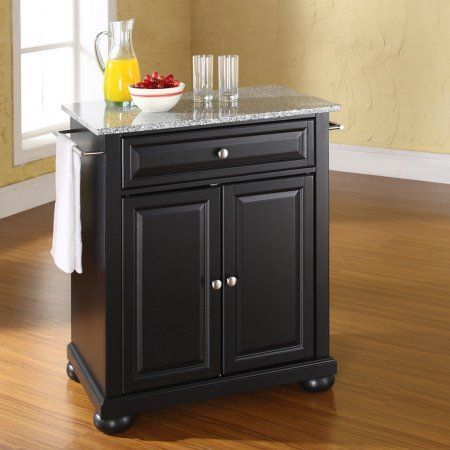 Crosley Furniture Alexandria Solid Granite Top Portable Kitchen Island,  Black