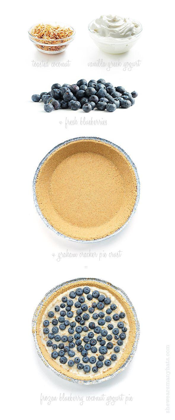 Easy Frozen Blueberry Coconut Yogurt Pie