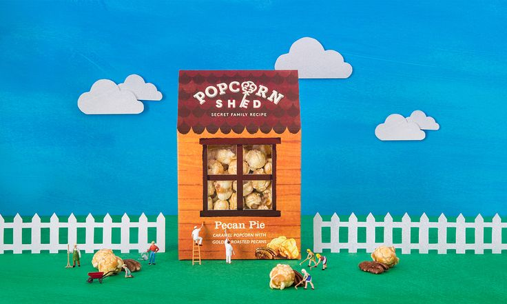 White Bear Studio designed this whimsical packaging for Popcorn Shed, a gourmet popcorn brand.
