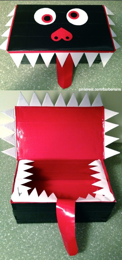 Valentines Day Monster Card Box. Made with a shoe box and duct tape. Simple and easy! Kids will love feeding this box Valentines at the classroom party! Sorry I don't have a blog!