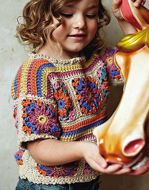crochet granny girls top.