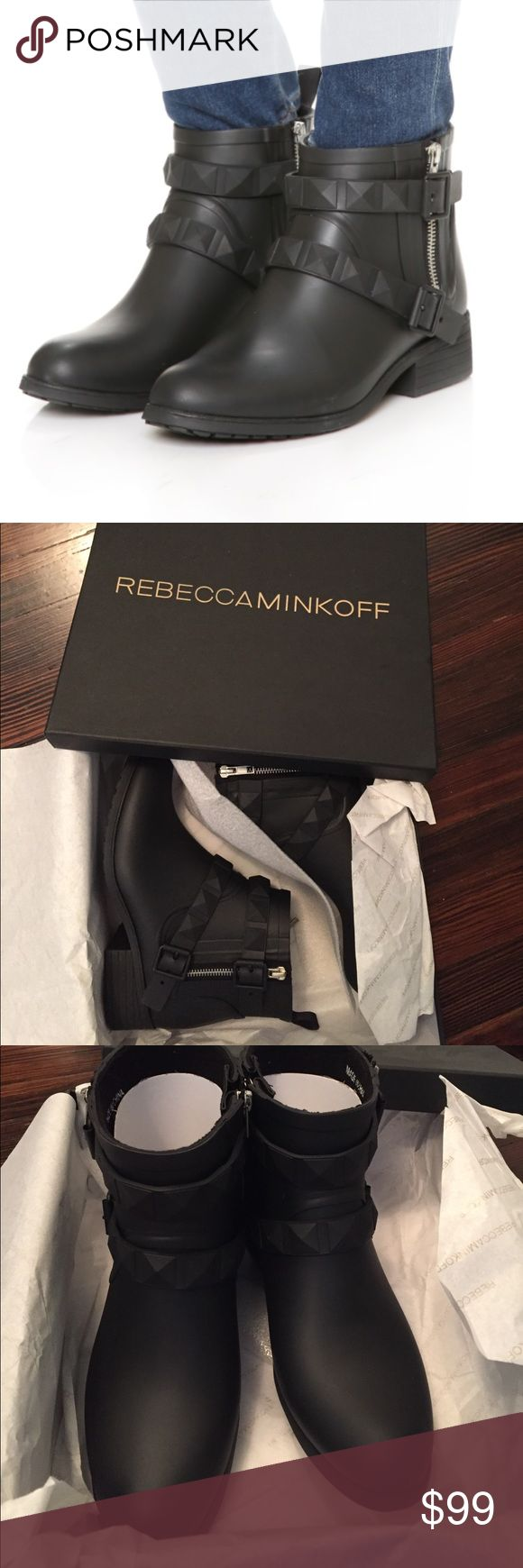 "Rebecca Minkoff Quincy Black waterproof boots! Brand new in box!   Studded straps and a side ankle zip combine for a moto-inspired rubber rain boot. The lug sole ensures slip-free style.    Style #: M3210000  Color: BLACK Size: 9 View Size & Fit Guide DETAIL & CARE Waterproof Rubber Upper Fleece Lining Rubber Sole 0.4"" Heel 3.5"" Shaft Height Rebecca Minkoff Shoes Winter & Rain Boots"