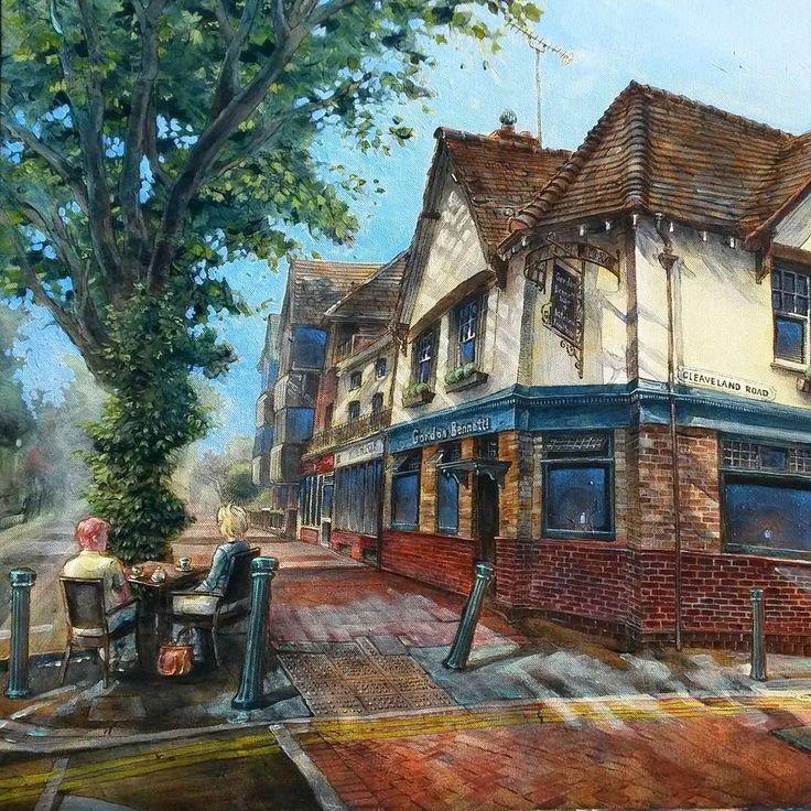 """This #pleinair really captures the mood of a fine English day. What would you order in this #pub?  #painting #fineart #acryliconcanvas #instaart #art #kunst #artoftheday #artisbeauty #artiseverywhere """"Gordon Bennett"""" Wade McKenzie"""