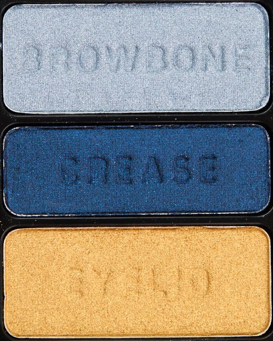 Wet 'n' Wild I Got Good Jeans Color Icon Eyeshadow Trio- bottom (eyelid) gold color is an awesome dupe for Mac's Goldmine, navy blue crease color would make a good eyeliner color, top silvery shade would make a good lid color with darker grey contour shade or along lower lashline.