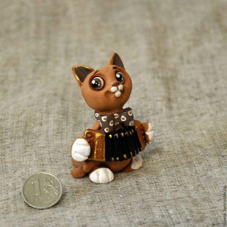 Купить Кот- гармонист. - кот гармонист, кот керамика, кот, котик, кот музыкант, керамика