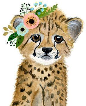 Safari de cuarto de niños bebes cub del cheetah pinturas de