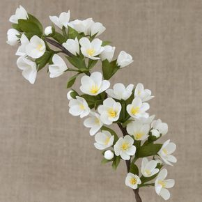 White Blossoming Twig / Spring Flowers Paper Flowers by myfloret
