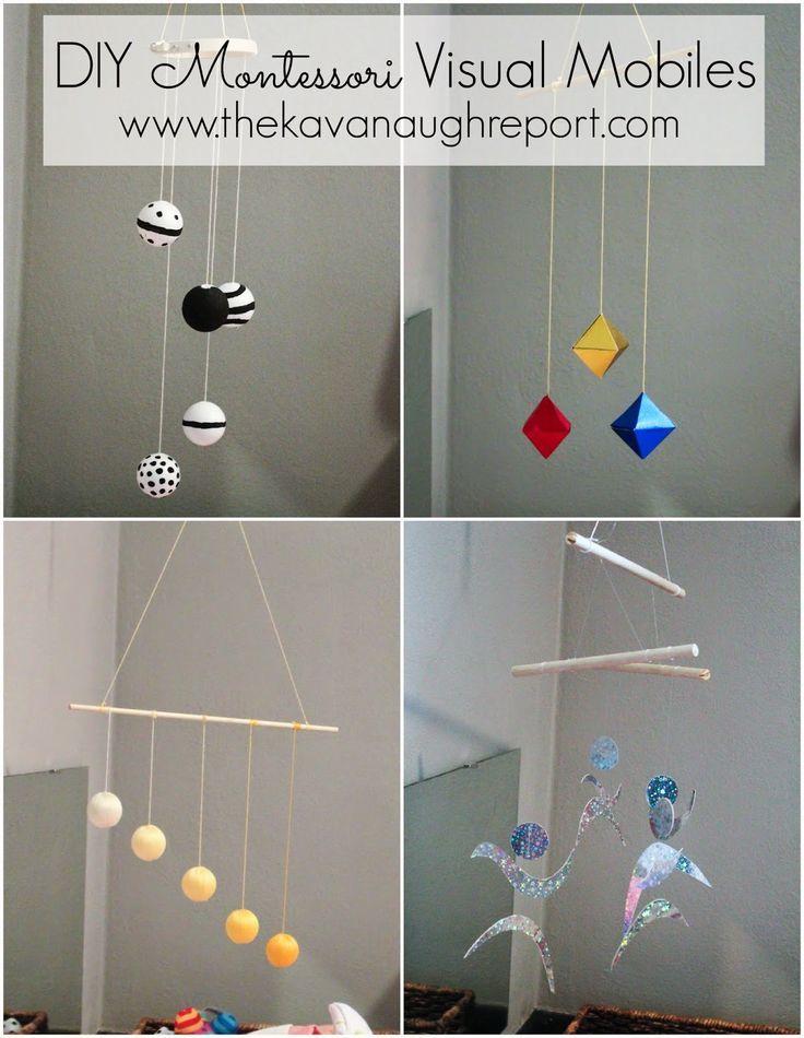 Ein paar dieser Mobiles könnte man sicherlich selber machen. Sie sind super geeignet für den Montessori-inspirierten Spielbereich.