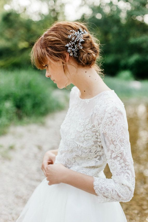 Bridal Lace Top Beaded Wedding Lace Top bridal by JurgitaBridal