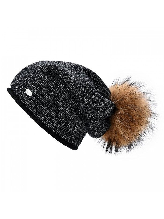 Womens Beanie Hats for Winter Wool Warm Cap Real Fur Pom Pom Knit Beanie  Caps - Black+natural Raccoon Pom Pom - CL186AIMRWA - Hats   Caps 19eafc8e5409