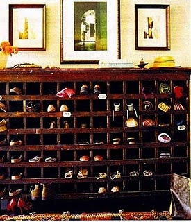 Old mail caddy shoe rack