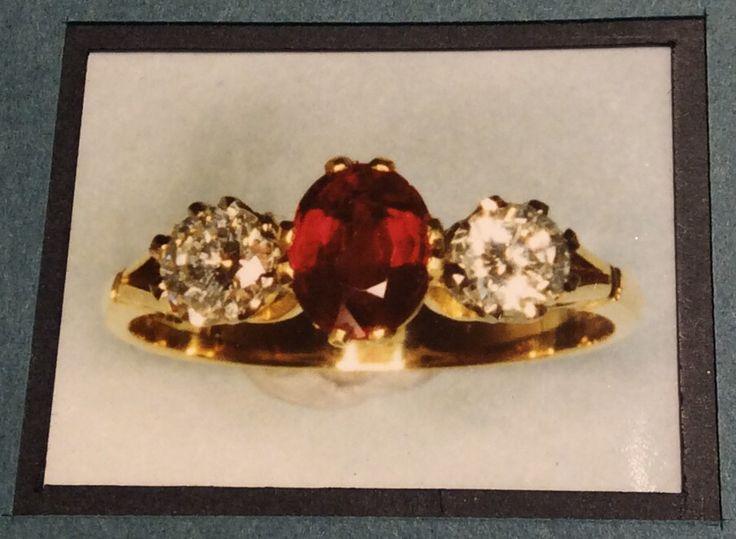 Ruby and Diamond three stone diamond ring