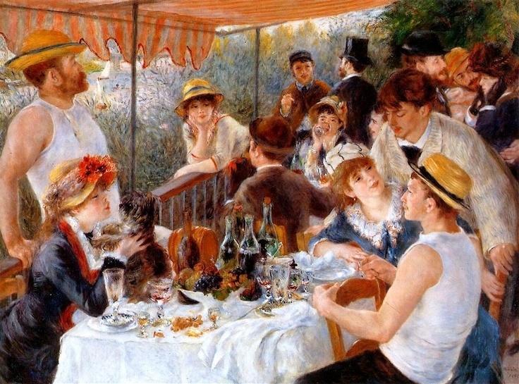 보트 파티에서의 오찬 - 피에르 오귀스트 르누아르  1881. 필립스 미술관.  이 작품에서도 어김없이 르누아르의 친구가 등장합니다. 르누아르는 인상주의자로 날리는 붓터치를 유럽 인물화 양식과 결합하는데 성취합니다. 흰색 캔버스를 사용하여 색을 더 밝게 나타낸 탓인지 그림의 분위기도 더 밝고 생기있는 것 같습니다.