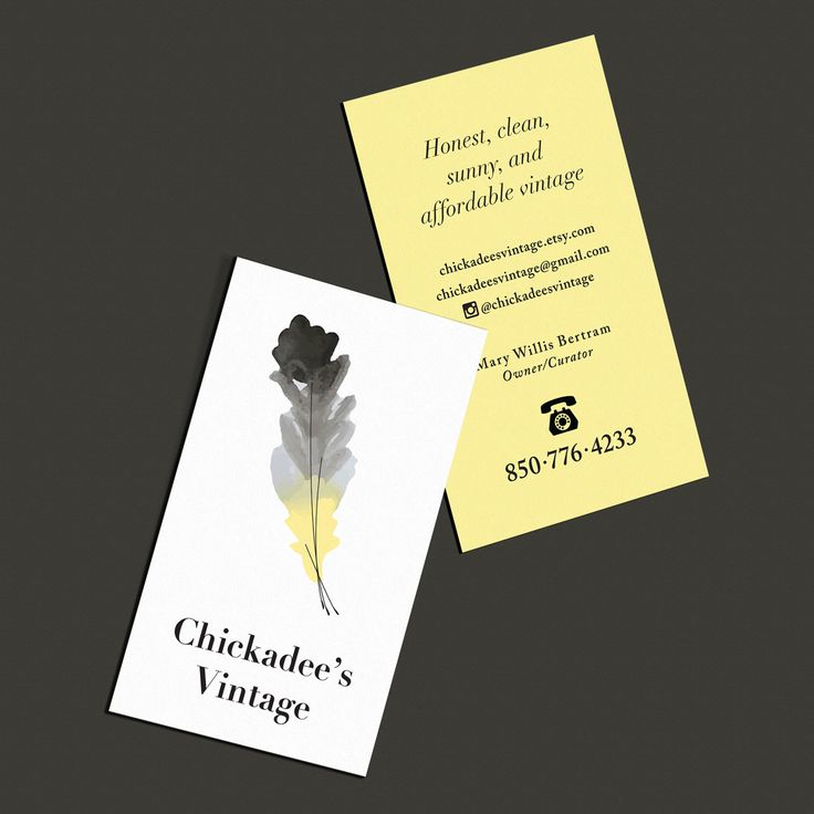 Vintage-inspired business cards for Chickadee's Vintage.  #businesscards #graphicdesign #vintage