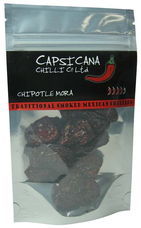 "Chipotle Mora chillies, where Mora means ""blackberry"" and refers to their small dark appearance. Our Chipotle Mora are sun dried Serrano chillies that have been smoked to perfection over pecan wood. They are a hotter alternative to the Chipotle Meco and have a sweeter flavour. Add to your cooking for heat and a great smoky flavour kick, Great for homemade BBQ sauce, Chilli con Carne, Salsas and many other recipes."