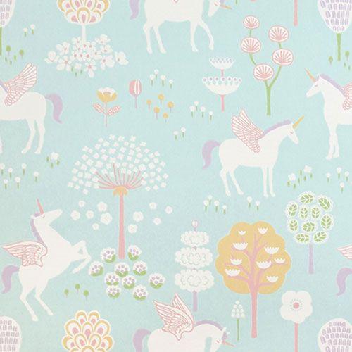 Aan de wand-origineel zweeds behangpapier-tru unicorns turquoise-Majvillan-9898-Als je een mooi, origineel en kwalitatief behang zoekt voor de kinderkamer of speelkamer dan ook, dan heb je het hier gevonden. Met tekeningen van eenhoorns