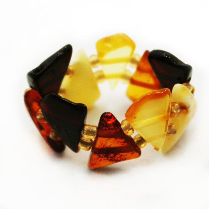 Multicolored Baltic Amber Expandable Ring. $12.00, via Etsy.