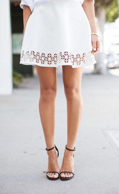 Laser cut vegan leather skirt & Saint Laurent sandals