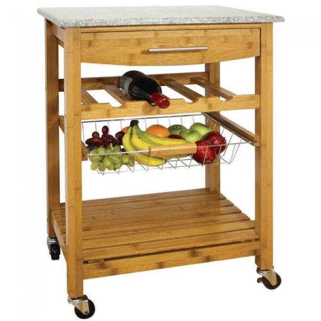 Wooden Kitchen Trolley Granite Top Cart Storage Unit Portable Bamboo Wine Rack Ebay