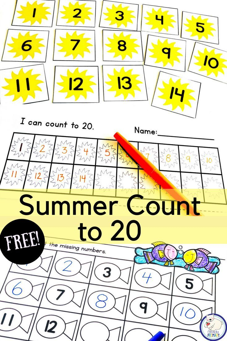 Practice Counting To 20 With These Summer Number Cards And Worksheets Preschool Counting Kindergarten Math Activities Summer Freebies [ 1102 x 735 Pixel ]