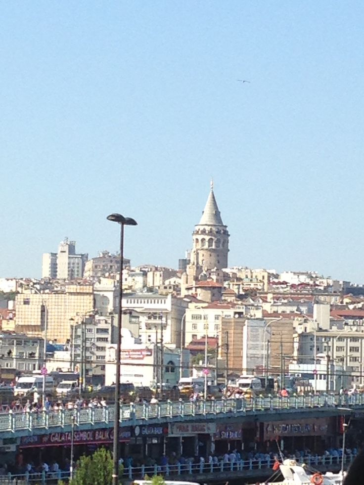 A view of the Galata Towers & the Galata bridge from the Yeni Mosque.