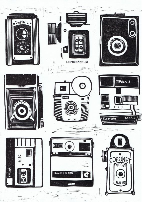 Beautiful lino cut print of 9 vintage cameras