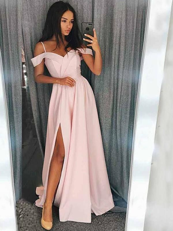 B | Chicloth A-Line Sleeveless Off-The-Shoulder Sweep / Brush Train With Ruffles Satin Dresses
