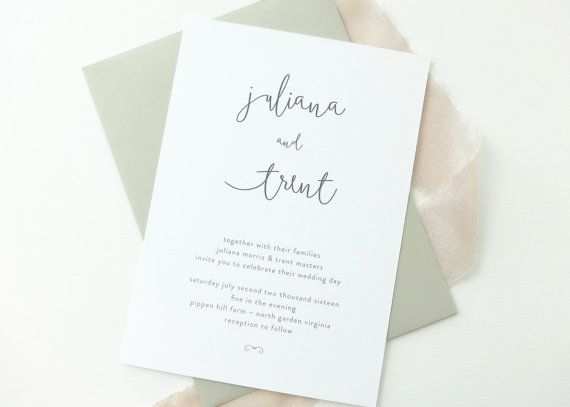 Juliana Handwriting Wedding Invitation Sample / Kraft Rustic Wedding Invitation / Minimalist / Simple Wedding Invitation / Twine / Heart