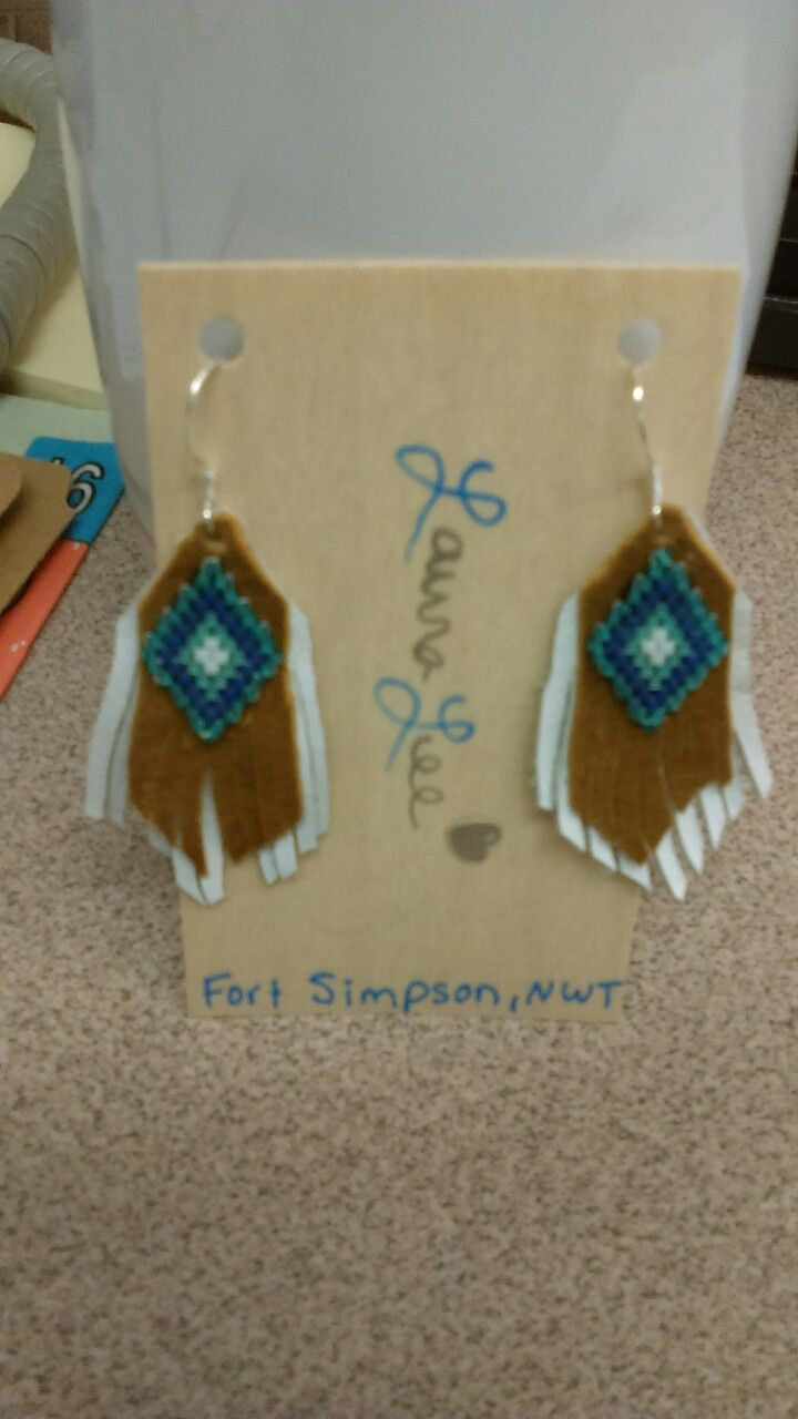 Moosehide and Leather Fringe earings with Traditional Dene Design Delica Beading