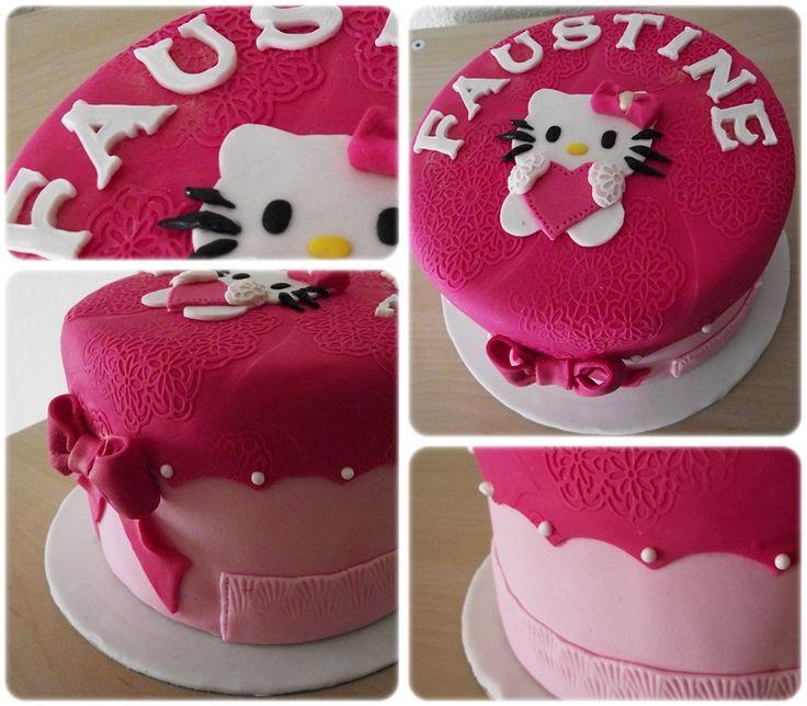 Gâteau Hello Kitty heart & bow