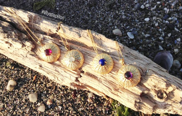 A collection of several Sea Urchin Handcrafted pendants. These beautiful gold plated necklaces inspired by the sea treasures are made of silver 925 and feature different semi precious stone from aqua marina, to amethyst, to lapis, to ruby.  http://www.facebook.com/LillysPapillon