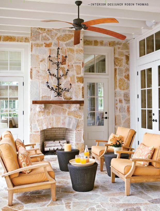 Sunroom sunrooms indoor outdoor pinterest fireplaces - Indoor sunroom furniture ideas ...