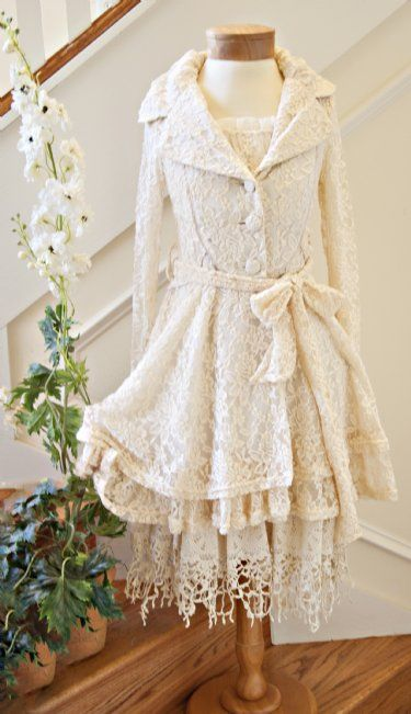 Women's Shabby Chic Ivory Lace DressStunning for Family Portraits!Pairs Beautifully with our Lace Coat!Now In Stock