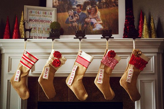 Love these burlap stockings for a sweet southern Christmas! Could easily DIY with personalized name tags and a cute ruffle