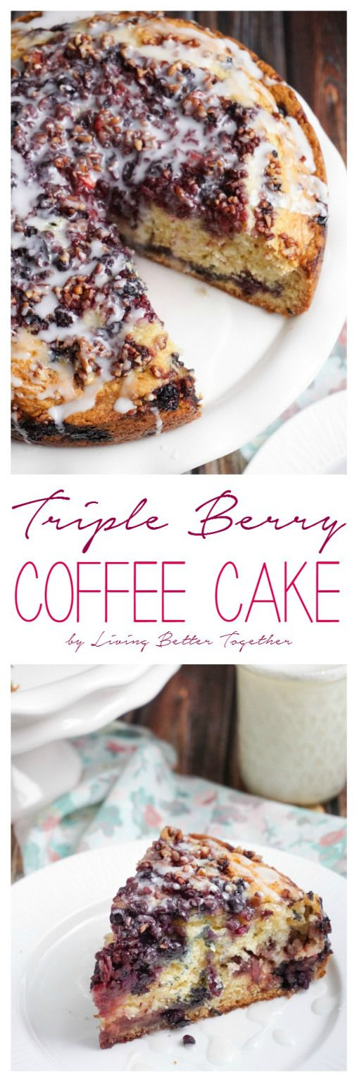 This Triple Berry Coffee Cake is loaded with strawberries, blueberries, and blackberries then finished off with chopped pecans and a simple icing.