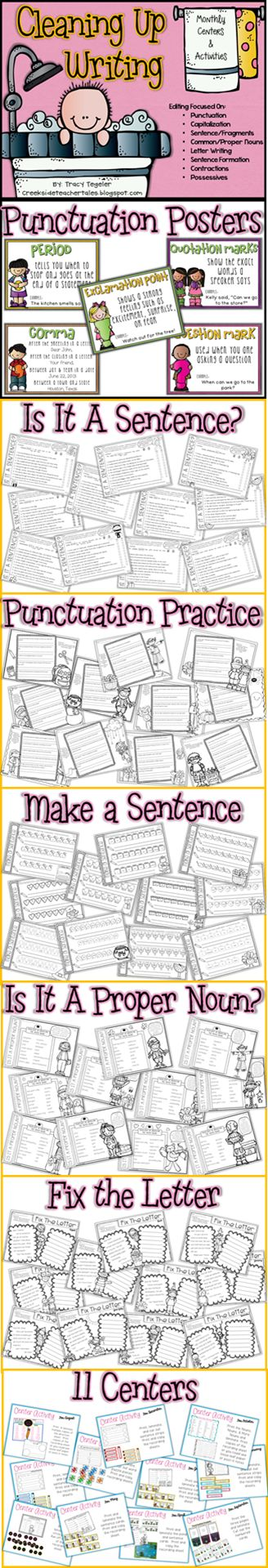 """**Follow for free """"too-neat-not-to-keep"""" teaching tools & other fun stuff :) .....this isn't free, but it does look good!! Monthly Activities and Centers for Writing/Editing"""