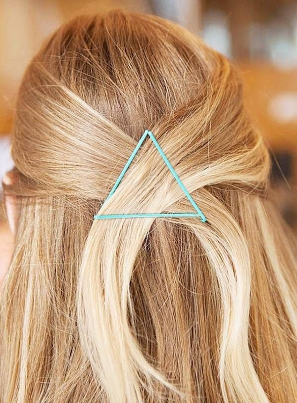 Bobby Pin Triangle: This look is great for brides with shorter hair. Pull a few pieces back and secure them into place with colorful bobby pins for a fun, geometrical look.