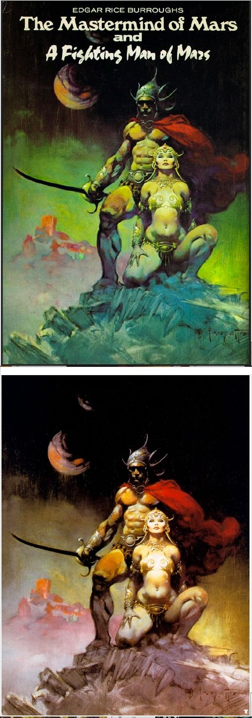 FRANK FRAZETTA - The Mastermind of Mars & A Fighting Man of Mars by Edgar Rice Burroughs - 1974 Nelson Doubleday / SFBC