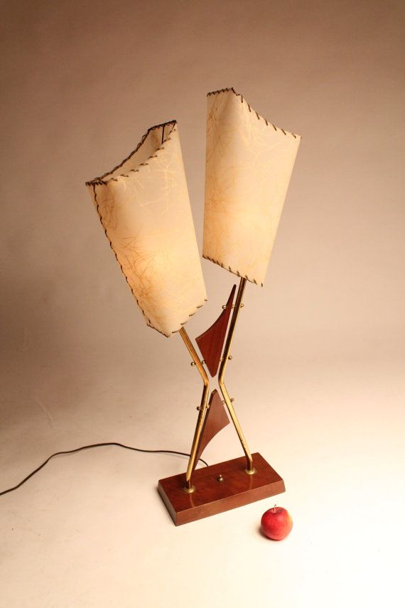 34 in. TWIN HEAD 1950 retro table lamp plastic by VINTAGELAMPDEN