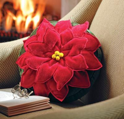 Poinsettia Decorative Pillow  I could probable make this myself with some awesome decorative stitches.  Hmmmmm