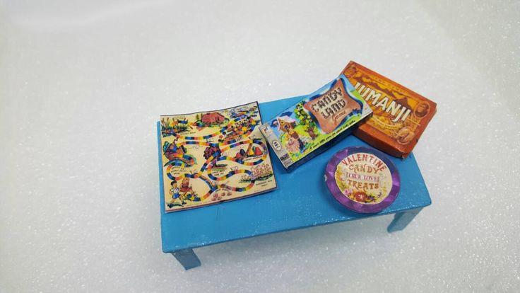 Blue Coffee Table Miniature Doll House Games table livingroom