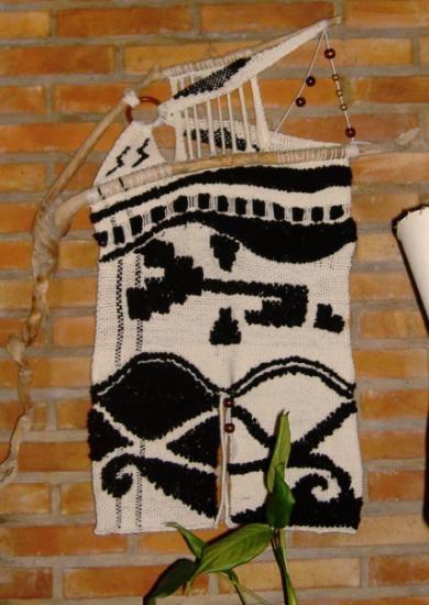 abstracto tapiz en telar lana tejido en telar