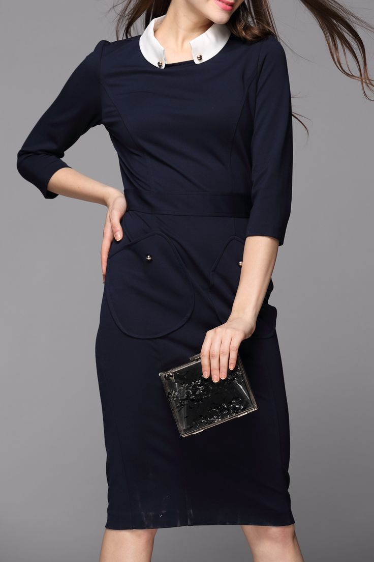 Revienne Bay Purplish Blue Contrast Collar Sheath Dress | Knee Length Dresses at DEZZAL