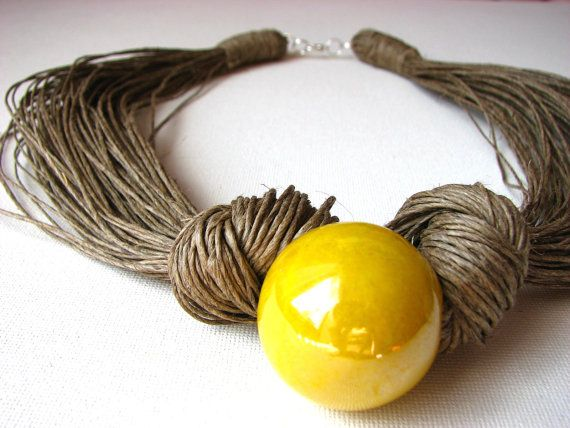 Ceramic Yellow linen necklace by GreyHeartOfStone on Etsy, $26.00