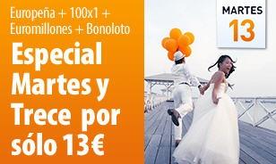 Tenemos a la venta el Pack Especial Martes y 13 que incluye: EuroPeña, Euromillones 100×1, una apuesta individual de Euromillones y tres apuestas más de BonoLoto   http://www.ventura24.es/?idpartner=social_source