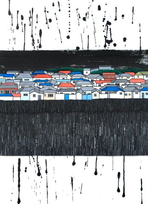 Urban Memory 6 2015, 54×74.4cm, mixed media,  Chinese ink, Acrylic, Hanji paper on panel, La Aeng