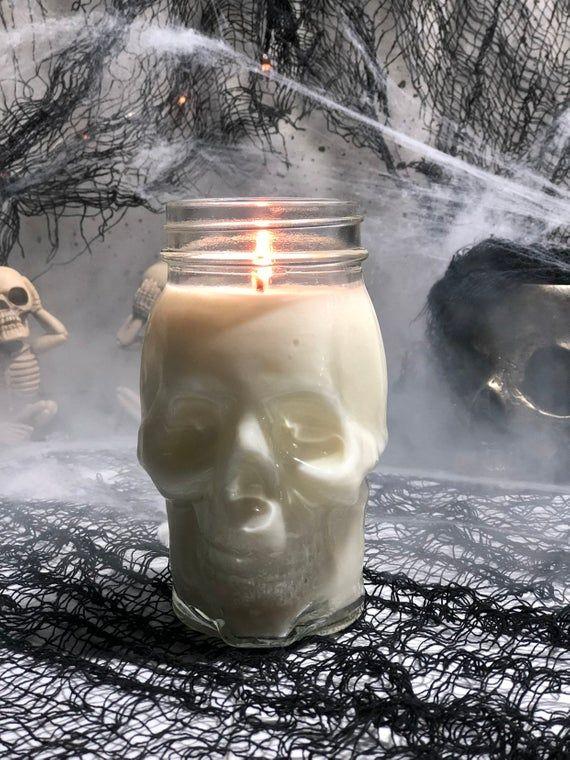 Skull Gift – Birthday Gift for Boyfriend  – October Birthday – Skull Room Decor- BIG 16oz Candle