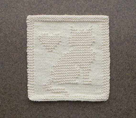CAT & HEART Knit Dishcloth / Wash Cloth. 100 by AuntSusansCloset, $6.50
